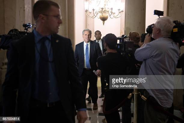 House Majority Leader Kevin McCarthy arrives at the office of Speaker of the House Paul Ryan at the US Capitol March 23 2017 in Washington DC Ryan...