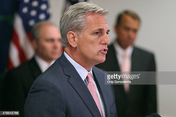 House Majority Leader Kevin McCarthy delivers brief remarks during a news conference following the weekly House GOP conference meeting at the US...