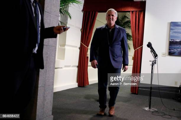 House Majority Leader Kevin McCarthy departs after a meeting of House Republicans on Capitol Hill April 4 2017 in Washington DC Republicans are...