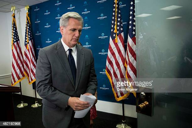 House Majority Leader Kevin McCarthy exits a press conference after a closed meeting with fellow Republicans on Capitol Hill July 28 2015 in...