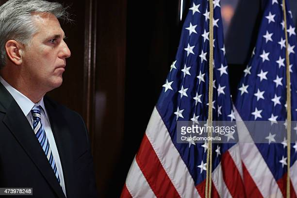 House Majority Leader Kevin McCarthy faces reporters after the weekly House GOP caucus meeting at the Republican National Committee headquarters on...