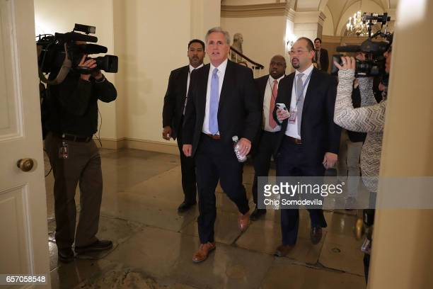 House Majority Leader Kevin McCarthy heads to a House Republican caucus meeting at the US Capitol March 23 2017 in Washington DC Speaker of the House...