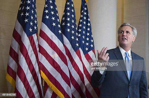 House Majority Leader Kevin McCarthy RCalifornia speaks to the press after walking out of the speaker nominee election after dropping out of the race...