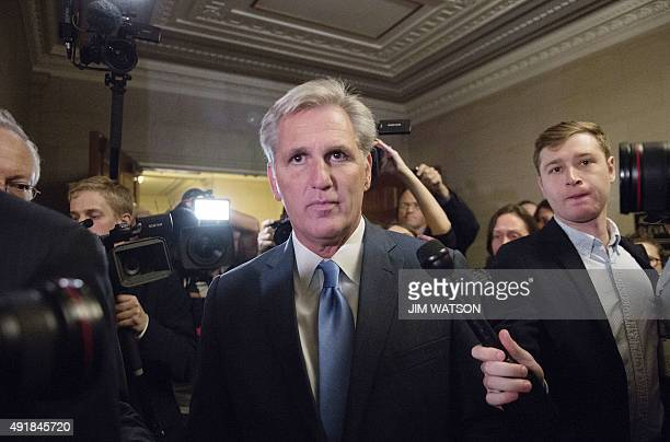House Majority Leader Kevin McCarthy RCalifornia walks out of the speaker nominee election after dropping out of the race on Capitol Hill in...
