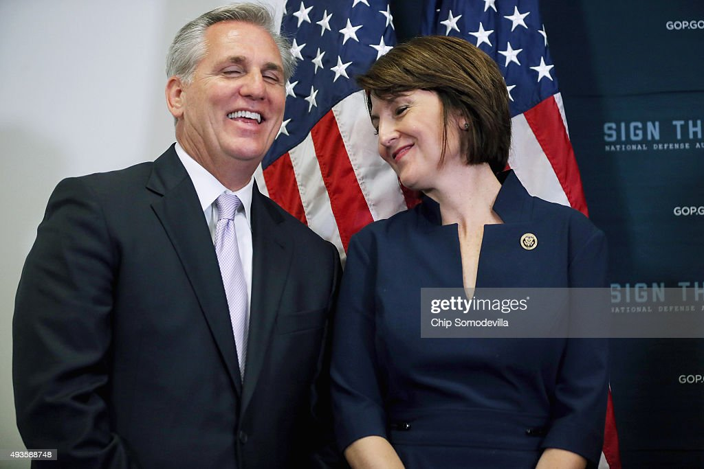House Majority Leader <a gi-track='captionPersonalityLinkClicked' href=/galleries/search?phrase=Kevin+McCarthy+-+U.S.+Congressman&family=editorial&specificpeople=6726000 ng-click='$event.stopPropagation()'>Kevin McCarthy</a> (R-CA) (L) shares a laugh with Rep. <a gi-track='captionPersonalityLinkClicked' href=/galleries/search?phrase=Cathy+McMorris+Rodgers&family=editorial&specificpeople=5685653 ng-click='$event.stopPropagation()'>Cathy McMorris Rodgers</a> (R-WA) during a news conference following the weekly House GOP conference meeting in the U.S. Capitol October 21, 2015 in Washington, DC. Speaker of the House John Boehner (R-OH) announced that the internal Republican election for speaker will be Oct. 28, and the floor election will be Oct. 29.