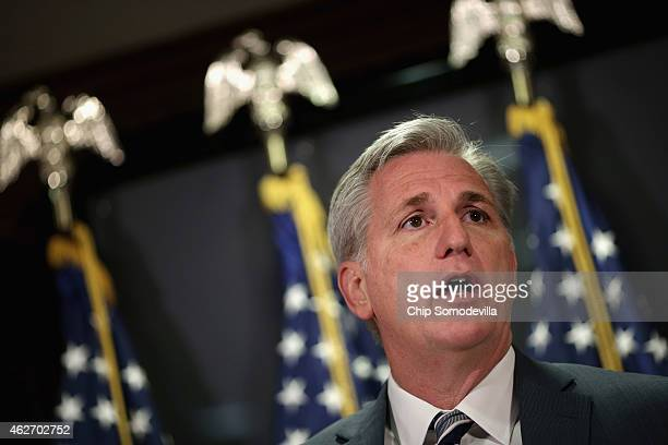 S House Majority Leader Kevin McCarthy speaks during a news conference following the weekly House GOP conference meeting at the Republican National...