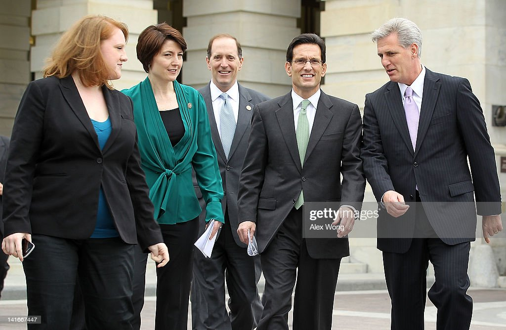 S House Majority Leader Rep Eric Cantor Rep Cathy McMorris Rodgers Rep Dave Camp and House Majority Whip Rep Kevin McCarthy arrive at a news...