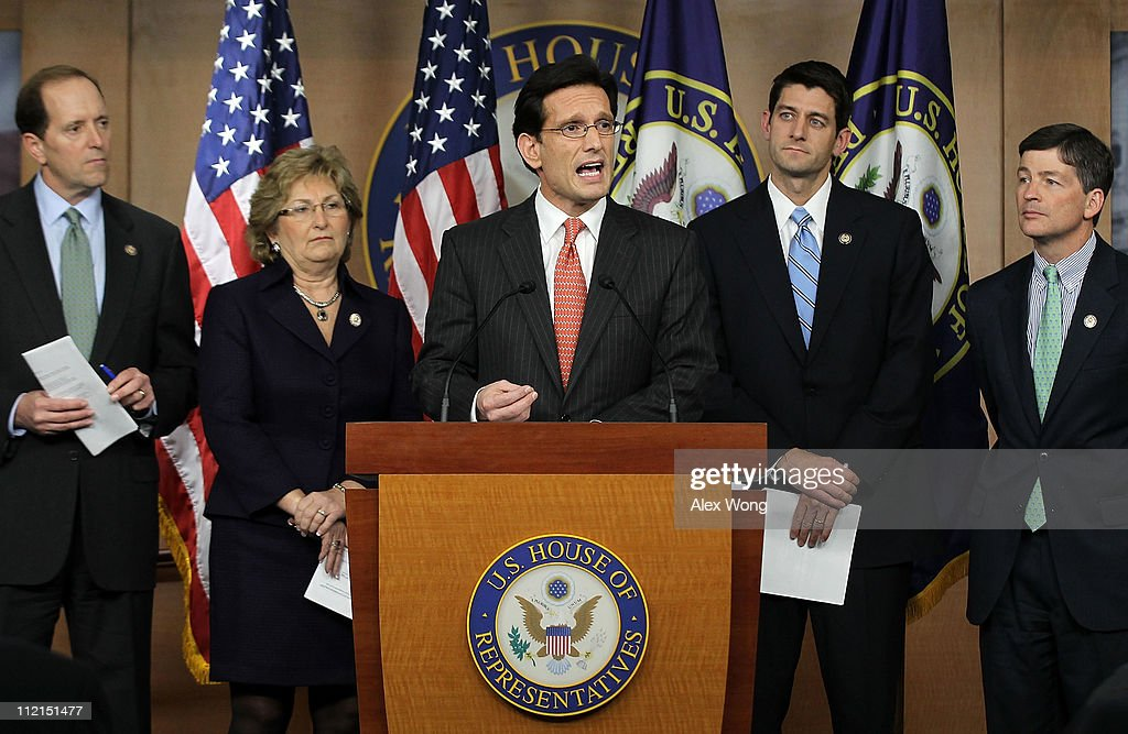 U.S. House Majority Leader Rep. <a gi-track='captionPersonalityLinkClicked' href=/galleries/search?phrase=Eric+Cantor&family=editorial&specificpeople=653711 ng-click='$event.stopPropagation()'>Eric Cantor</a> (R-VA) (C) speaks as (L-R) Rep. Dave Camp (R-MI), Rep. Diane Black (R-TN), Rep. Paul Ryan (R-WI), and Rep. Jeb Hensarling (R-TX) listen during a news conference April 13, 2011 on Capitol Hill in Washington, DC. Cantor held a news conference to discuss job creation and the budget for 2012.