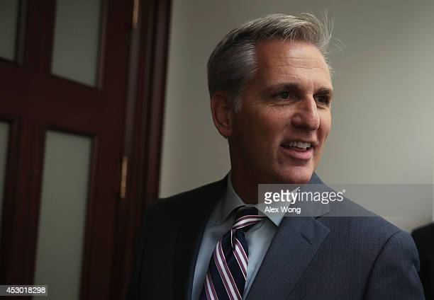 S House Majority Leader Rep Kevin McCarthy arrives at a House Republican Conference meeting August 1 2014 on Capitol Hill in Washington DC The House...