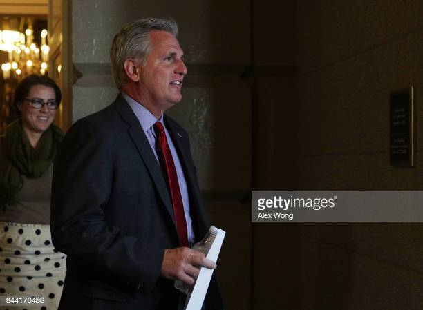 S House Majority Leader Rep Kevin McCarthy arrives at a House Republican Conference meeting September 8 2017 at the Capitol in Washington DC...