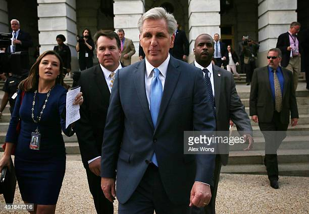 S House Majority Leader Rep Kevin McCarthy leaves after a closed House Republican election meeting to pick the next GOP House Speaker nominee October...
