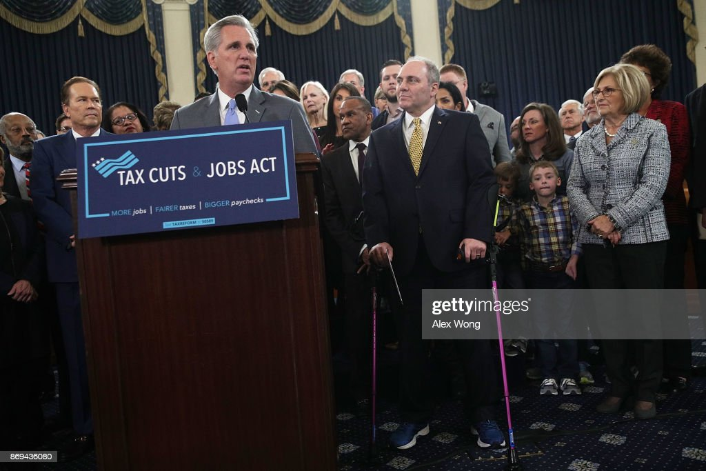U.S. House Majority Leader Rep. Kevin McCarthy (R-CA) (L) speaks as House Majority Whip Rep. Steve Scalise (R-LA) (R) listens during a news conference on the tax reform legislation November 2, 2017 on Capitol Hill in Washington, DC. House Republicans have unveiled the tax reform legislation today.