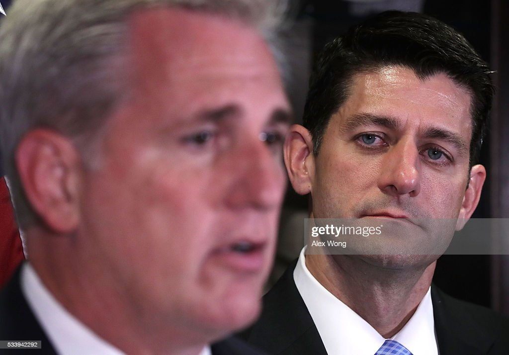 U.S. House Majority Leader Rep. <a gi-track='captionPersonalityLinkClicked' href=/galleries/search?phrase=Kevin+McCarthy+-+U.S.+Congressman&family=editorial&specificpeople=6726000 ng-click='$event.stopPropagation()'>Kevin McCarthy</a> (R-CA) (L) speaks as Speaker of the House Rep. <a gi-track='captionPersonalityLinkClicked' href=/galleries/search?phrase=Paul+Ryan+-+Politician&family=editorial&specificpeople=7641535 ng-click='$event.stopPropagation()'>Paul Ryan</a> (R-WI) (R) looks on during a media availability at the Republican National Committee (RNC) headquarters May 24, 2016 in Washington, DC. The House Republican Conference held a meeting prior to the media availability to discuss party matters.