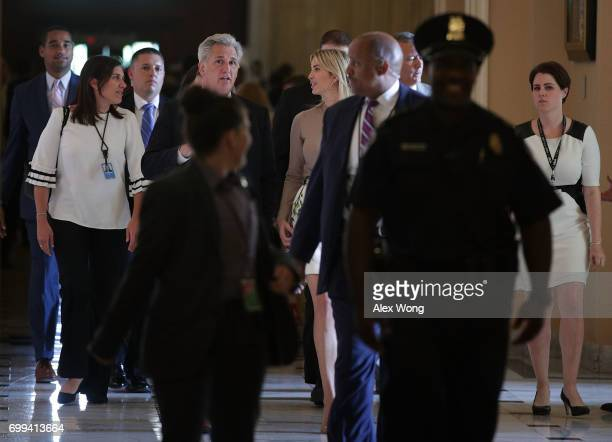 S House Majority Leader Rep Kevin McCarthy welcomes Ivanka Trump daughter and assistant to President Donald Trump to a meeting at the Capitol June 21...