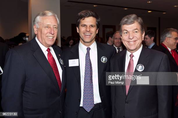 US House Majority Leader Rep Steny H Hoyer Timothy P Shriver Chairman CEO Special Olympics and Rep Roy Blunt attend the Eunice Kennedy Shriver Act...