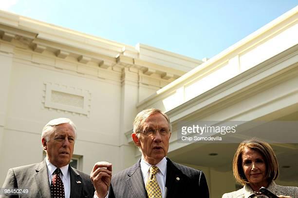 House Majority Leader Steny Hoyer Senate Majority Leader Harry Reid and Speaker of the House Nancy Pelosi talk to reporters outside the West Wing...
