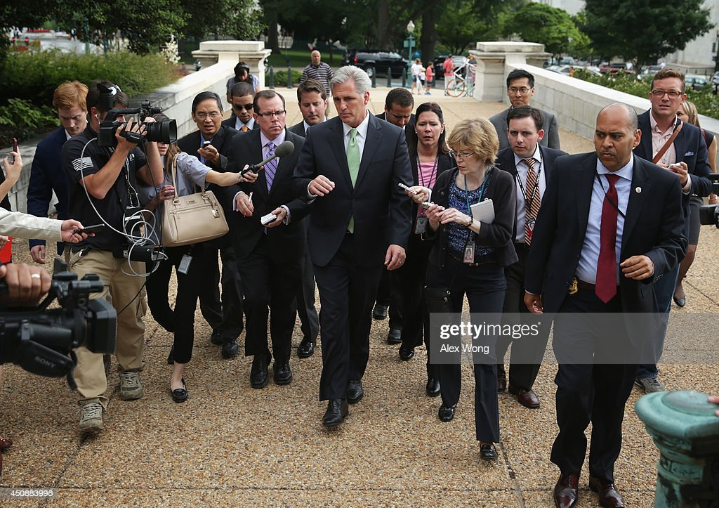 U.S. House Majority Whip Rep. Kevin McCarthy (R-CA) (C) speaks to members of the media after he was elected as the new leader at a House Republican Conference meeting June 19, 2014 on Capitol Hill in Washington, DC. House GOPs have picked McCarthy as the new House majority leader and Rep. Steve Scalise (R-LA) as the new majority whip.