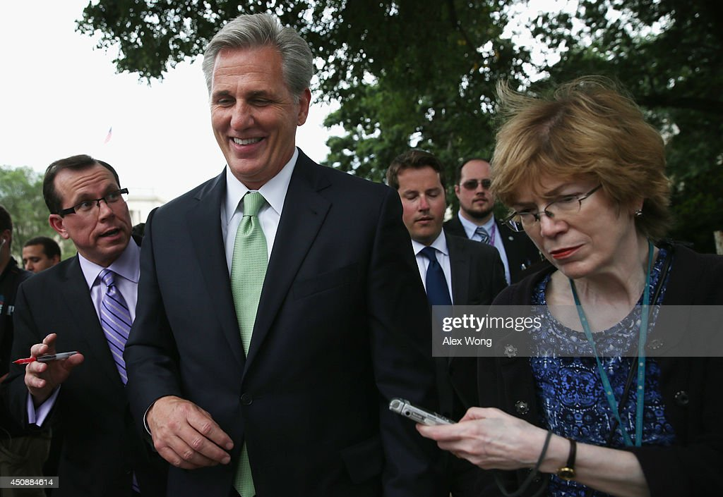 U.S. House Majority Whip Rep. Kevin McCarthy (R-CA) (2nd L) speaks to members of the media after he was elected as the new leader at a House Republican Conference meeting June 19, 2014 on Capitol Hill in Washington, DC. House GOPs have picked McCarthy as the new House majority leader and Rep. Steve Scalise (R-LA) as the new majority whip.