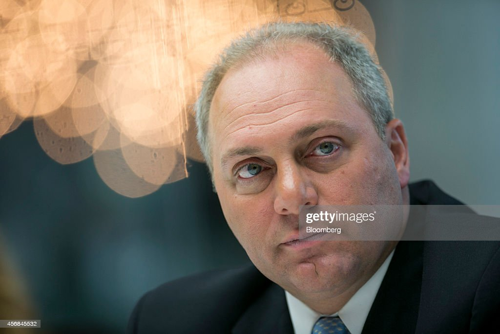 House Majority Whip <a gi-track='captionPersonalityLinkClicked' href=/galleries/search?phrase=Steve+Scalise&family=editorial&specificpeople=5482687 ng-click='$event.stopPropagation()'>Steve Scalise</a>, a Republican from Louisiana, listens during an interview in New York, U.S., on Wednesday, Oct. 8, 2014. Debt ceilings are hit because of spending problems in Washington and 'to increase the debt ceiling it ought to be tied to reforms that finally solve the spending problem,' Scalise said. Photographer: Scott Eells/Bloomberg via Getty Images