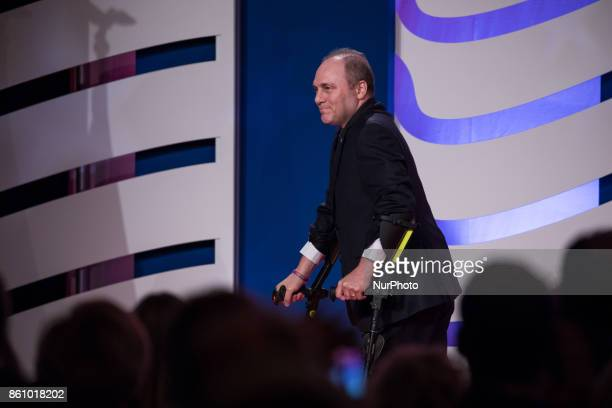 House Majority Whip Steve Scalise leaves the stage after speaking at the 2017 Values Voter Summit at the Omni Shoreham Hotel in Washington DC on...