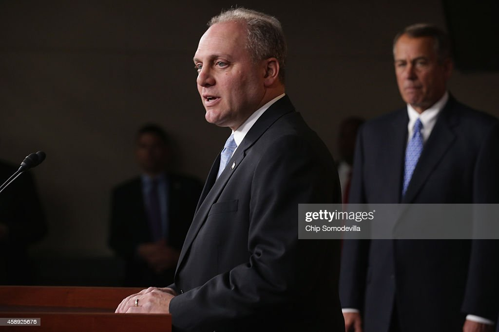 U.S. House Majority Whip <a gi-track='captionPersonalityLinkClicked' href=/galleries/search?phrase=Steve+Scalise&family=editorial&specificpeople=5482687 ng-click='$event.stopPropagation()'>Steve Scalise</a> (R-LA) joins House Speaker John Boehner (R-OH) (C) and other members of the newly-elected House Republican leadership team for a news conference at the U.S. Capitol November 13, 2014 in Washington, DC. Fortified by last week's midterm election success, Boehner announced that the House will take up legislation about the Keystone XL pipeline this week and will continue to push back against President Barack Obama's executive actions.