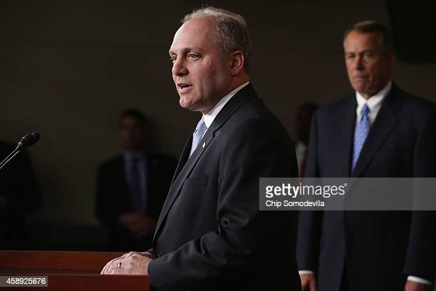 S House Majority Whip Steve Scalise joins House Speaker John Boehner and other members of the newlyelected House Republican leadership team for a...