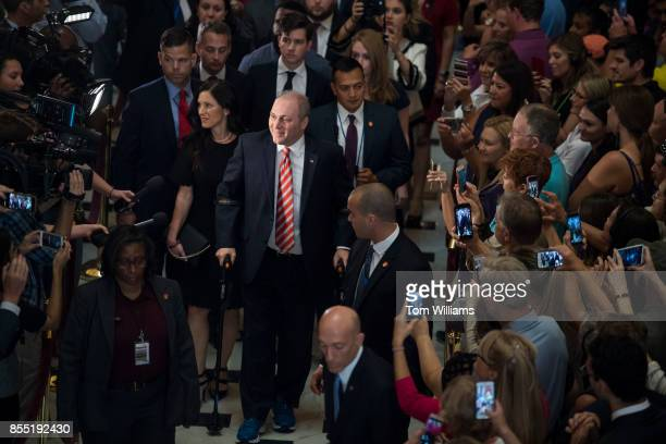 House Majority Whip Steve Scalise RLa and his wife Jennifer walk through the Capitol's Statuary Hall on September 28 his first day back to the Hill...