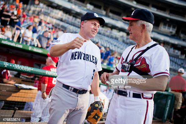House Majority Whip Steve Scalise RLa left and Roger Williams RTexas talk before the 54th Congressional Baseball Game in Nationals Park June 11 2014...
