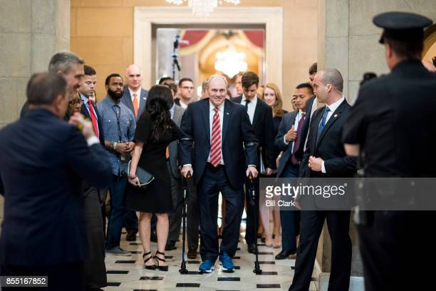 House Majority Whip Steve Scalise RLa walks with his wife Jennifer from the House chamber to his office in the Capitol on his first day back in...