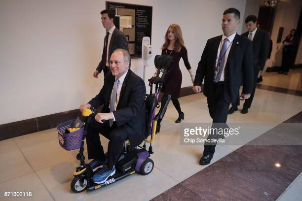 House Majority Whip Steve Scalise leaves following a news conference at the US Capitol November 7 2017 in Washington DC Scalise who moves around in...