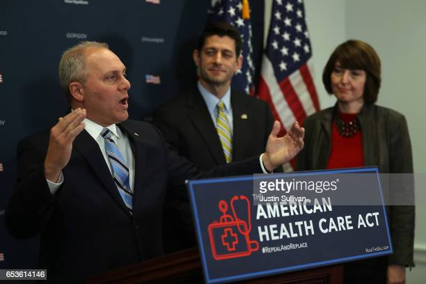 House Majority Whip Steve Scalise speaks as House Speaker Paul Ryan and House Conference Chair Cathy McMorris Rodgers look on during a news...