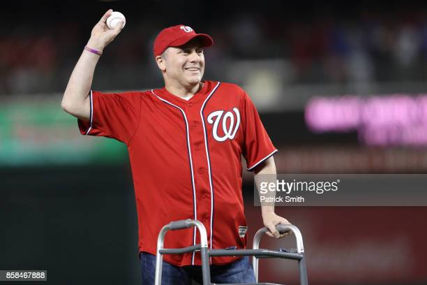 House Majority Whip Steve Scalise throws the ceremonial first pitch prior to game one of the National League Division Series between the Chicago Cubs...