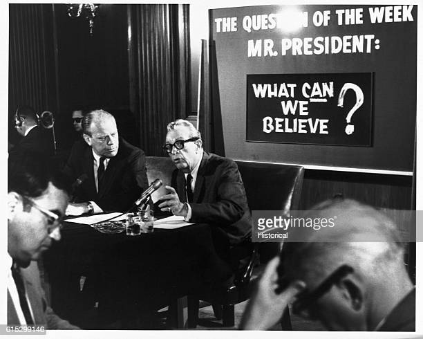 House Minority Leader Gerald Ford and Senate Minority Leader Everett Dirksen on the Ev and Jerry Show a weekly TV show broadcast by the Republican...