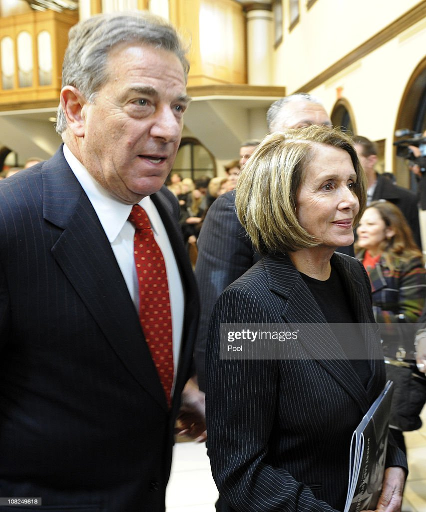 House Minority Leader House <a gi-track='captionPersonalityLinkClicked' href=/galleries/search?phrase=Nancy+Pelosi&family=editorial&specificpeople=169883 ng-click='$event.stopPropagation()'>Nancy Pelosi</a> and her husband Paul Pelosi depart the funeral service for Sargent Shriver at Our Lady of Mercy Catholic Church January 22, 2011 in Potomac, Maryland. Robert Sargent Shriver Jr., a politician and activist who was the first leader of the Peace Corps and was involved in other social programs, died this week at the age of 95.