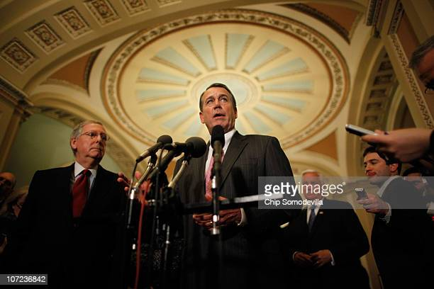 House Minority Leader John Boehner and Senate Minority Leader Mitch McConnell talk with reporters after meeting with Republican governorselect at the...