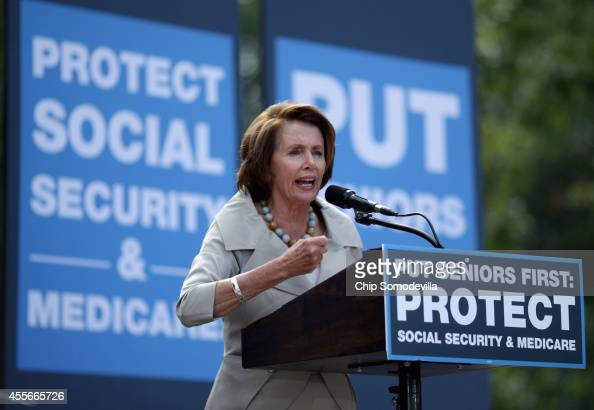 House Minority Leader Nancy Pelosi addresses a rally in support of Social Security and Medicare on Capitol Hill September 18 2014 in Washington DC...