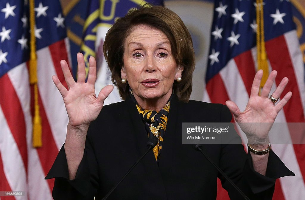 House Minority Leader <a gi-track='captionPersonalityLinkClicked' href=/galleries/search?phrase=Nancy+Pelosi&family=editorial&specificpeople=169883 ng-click='$event.stopPropagation()'>Nancy Pelosi</a> (D-CA) answers questions during her weekly press conference at the U.S. Capitol on March 19, 2015 in Washington, DC. Pelosi answered questions on the Republican budget, Hillary Clinton's emails, and other topics during the press conference.