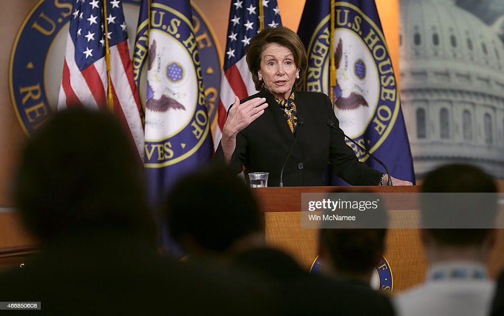 House Minority Leader Nancy Pelosi (D-CA) answers questions during her weekly press conference at the U.S. Capitol on March 19, 2015 in Washington, DC. Pelosi answered questions on the Republican budget, Hillary Clinton's emails, and other topics during the press conference.