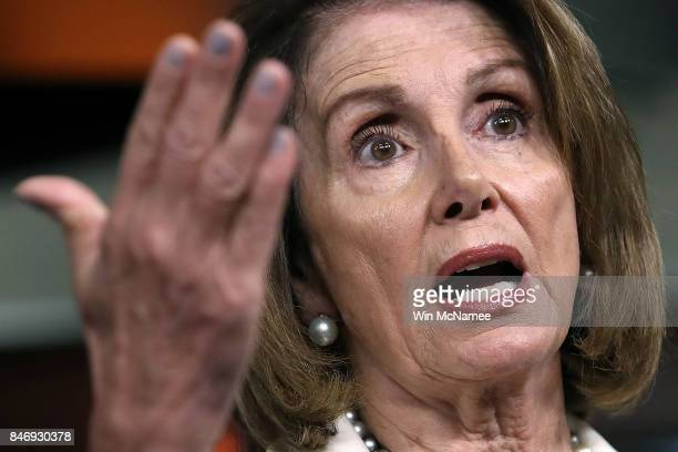 House Minority Leader Nancy Pelosi answers questions during her weekly press conference at the US Capitol September 14 2017 in Washington DC Pelosi...