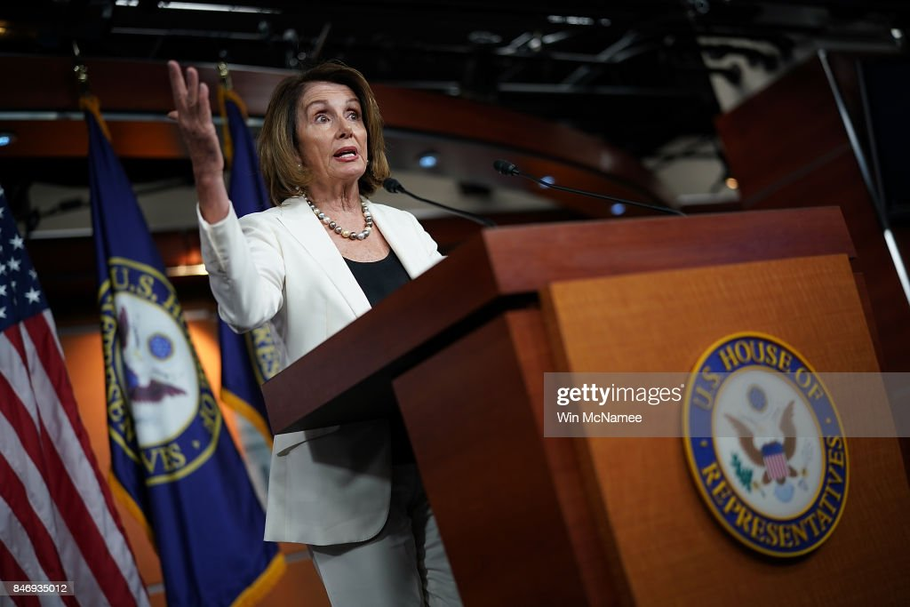 House Minority Leader Nancy Pelosi (D-CA) answers questions during her weekly press conference at the U.S. Capitol September 14, 2017 in Washington, DC. Pelosi answered questions on reports of reaching an agreement on the DREAM Act and a potential path to citizenship with U.S. President Donald Trump during the press conference.