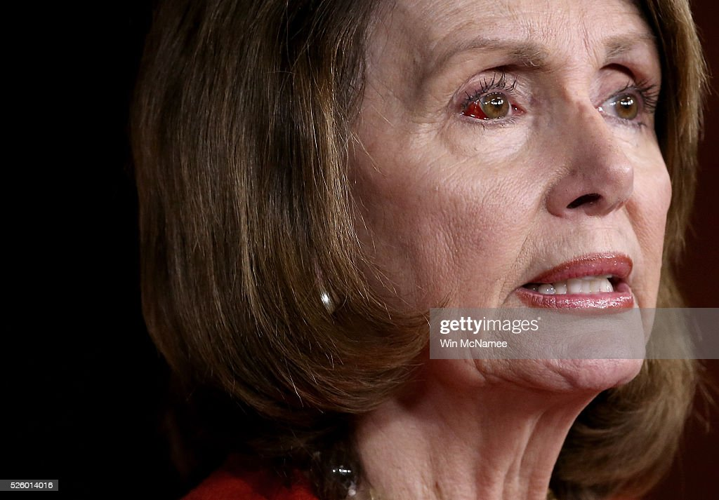 House Minority Leader Nancy Pelosi (D-CA) answers questions during her weekly press conference April 29, 2016 in Washington, DC. Pelosi commented on a range of issues during the press conference, including brief remarks on the ongoing race for the U.S. presidency, and the legislative agenda of the House of Representatives.