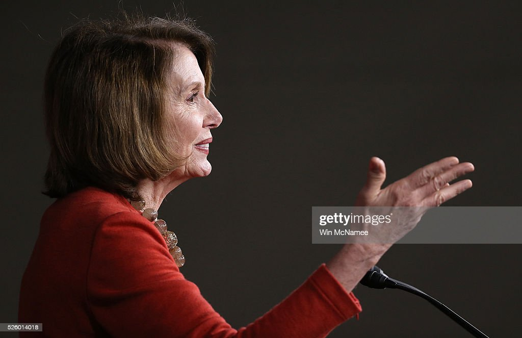 House Minority Leader <a gi-track='captionPersonalityLinkClicked' href=/galleries/search?phrase=Nancy+Pelosi&family=editorial&specificpeople=169883 ng-click='$event.stopPropagation()'>Nancy Pelosi</a> (D-CA) answers questions during her weekly press conference April 29, 2016 in Washington, DC. Pelosi commented on a range of issues during the press conference, including brief remarks on the ongoing race for the U.S. presidency, and the legislative agenda of the House of Representatives.