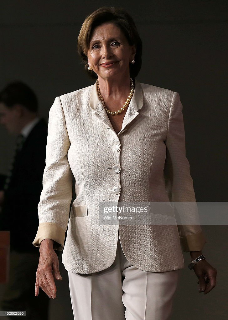 House Minority Leader <a gi-track='captionPersonalityLinkClicked' href=/galleries/search?phrase=Nancy+Pelosi&family=editorial&specificpeople=169883 ng-click='$event.stopPropagation()'>Nancy Pelosi</a> arrives for her weekly press conference at the U.S. Capitol July 25, 2014 in Washington, DC. Pelosi spoke extensively on the current border crisis and also long term immigration reform.