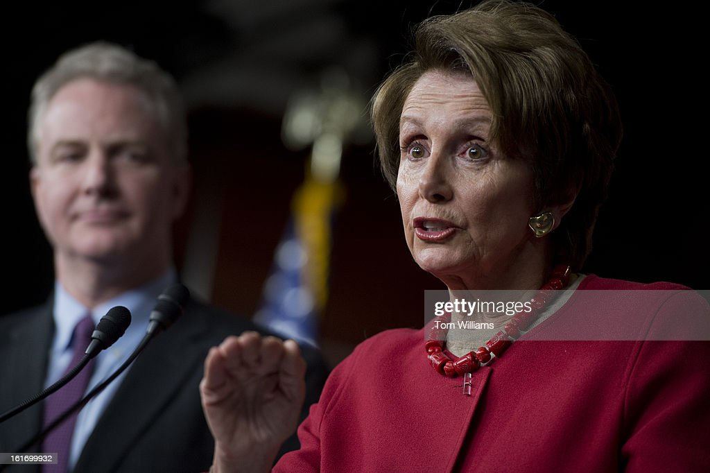 House Minority Leader Nancy Pelosi, D-Calif., and Rep. Chris Van Hollen, D-Md., conduct a news conference in the Capitol Visitor Center on legislation intended to avoid the sequestration.