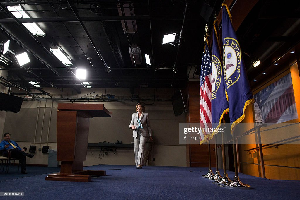 STATES - MAY 25 - House Minority Leader Nancy Pelosi, D-Calif., defends the chairwoman of the Democratic National Committee, who's been under attack from presidential candidate Bernie Sanders, during a news conference on Capitol Hill in Washington, Wednesday, May 25, 2016.