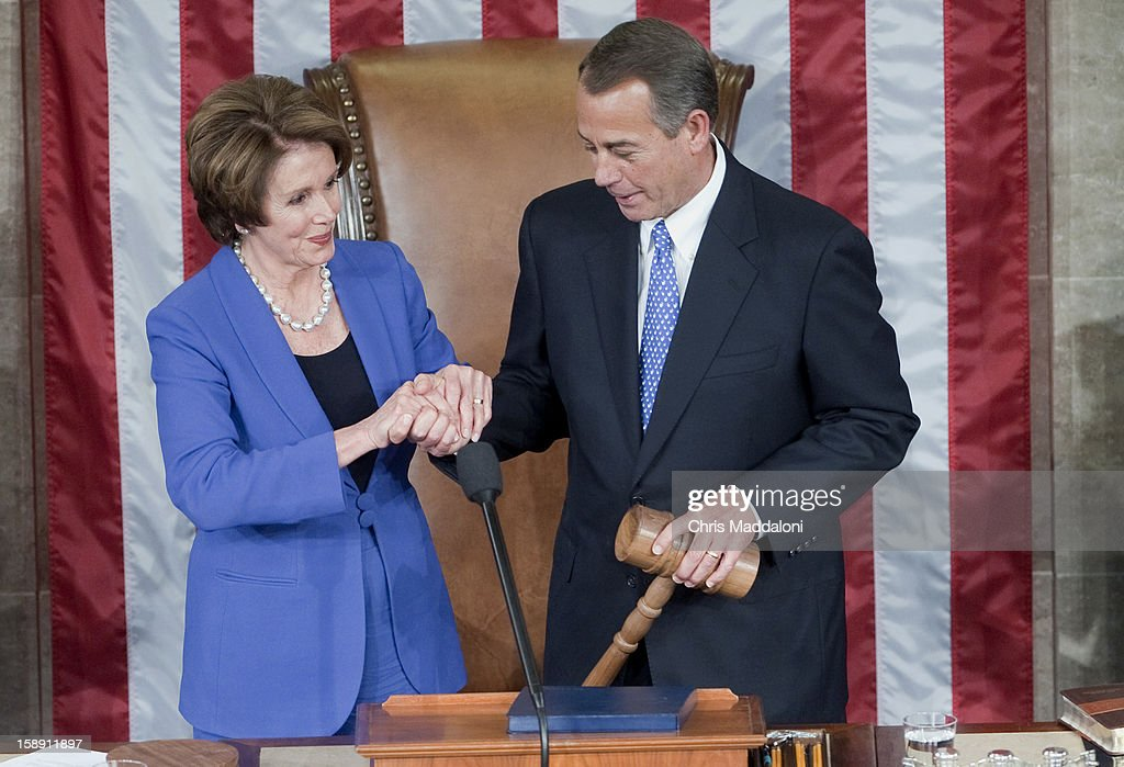 House Minority Leader <a gi-track='captionPersonalityLinkClicked' href=/galleries/search?phrase=Nancy+Pelosi&family=editorial&specificpeople=169883 ng-click='$event.stopPropagation()'>Nancy Pelosi</a>, D-Calif., gives the Speaker of the House John Boehner, R-Ohio, his gavel on the first day of the 113th Congress. Boehner was reelected to his 2nd term.