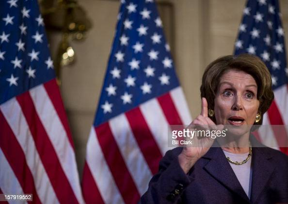 House Minority Leader Nancy Pelosi DCalif holds a press conference in the Capitol's Statuary Hall to speak about the fiscal cliff Washington on...