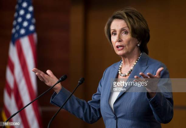 House Minority Leader Nancy Pelosi DCalif holds her weekly on camera news conference in the Capitol on Thursday Oct 17 2013