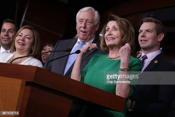 House Minority Leader Nancy Pelosi holds a news conference in the House Visitors Center in the US Capitol March 24 2017 in Washington DC In a big...