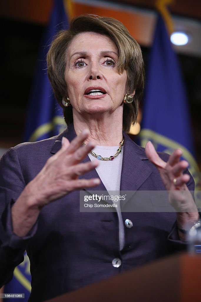 House Minority Leader <a gi-track='captionPersonalityLinkClicked' href=/galleries/search?phrase=Nancy+Pelosi&family=editorial&specificpeople=169883 ng-click='$event.stopPropagation()'>Nancy Pelosi</a> (D-CA) holds her weekly news conference at the U.S. Capitol November 15, 2012 in Washington, DC. Pelosi took questions from reporters about the 'fiscal cliff,' the debt ceiling, working with Republicans and other matters the Congress must face in the lame duck session.